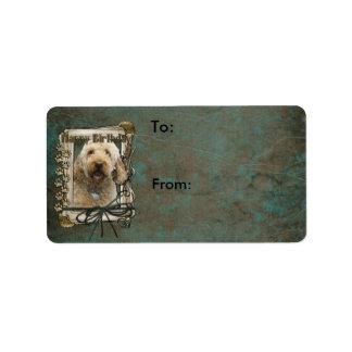 Happy Birthday - Stone Paws - GoldenDoodle Address Label