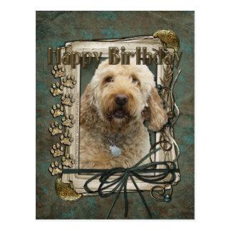 Happy Birthday - Stone Paws - GoldenDoodle Postcard