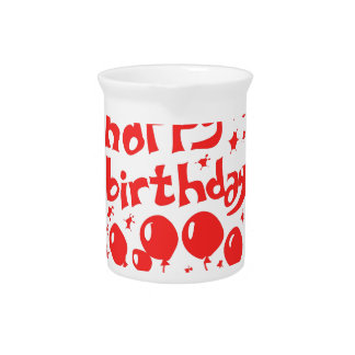happy birthday tiled text with balloons pitcher