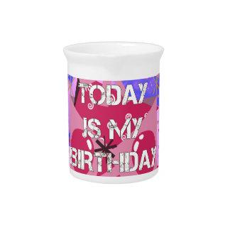 Happy Birthday Today is my Birthday Blue Balloons Pitcher