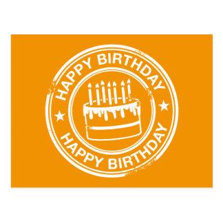 Happy Birthday -white rubber stamp effect- Postcard