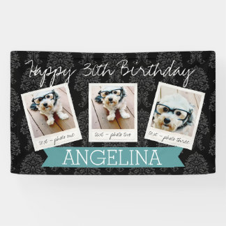 Happy Birthday with 3 Photos - can edit back Banner