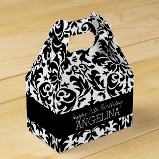 Happy Birthday with Trendy Black and White Damask Favour Box