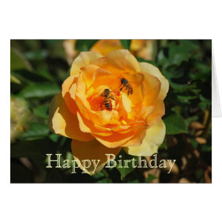 Happy Birthday Yellow Rose With Honeybees Card