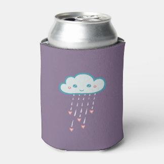 Happy Blue Rain Cloud Raining Pink Hearts Can Cooler