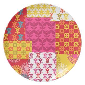 Happy bright retro floral collage party plates