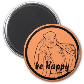 Happy Buddha 6 Cm Round Magnet