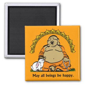 HAPPY BUDDHA SQUARE MAGNET