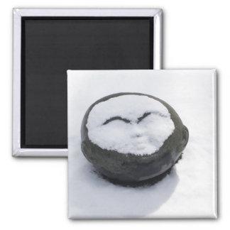 Happy Buddha With Snow Facial Fridge Magnets