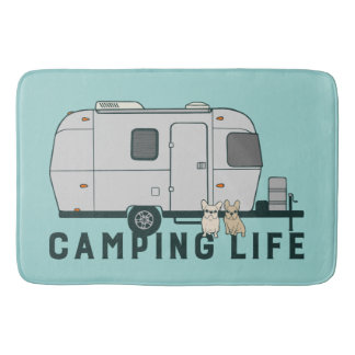 Happy camping life with cute Frenchies Bath Mat