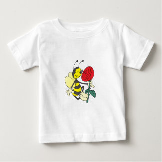 Happy Cartoon Bee Holding and Smelling a Red Rose Baby T-Shirt