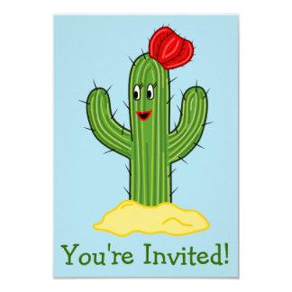 Happy Cartoon Cactus Gal (Blue Background) Custom Invitations