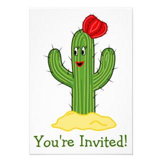 Happy Cartoon Cactus Gal Personalized Invite