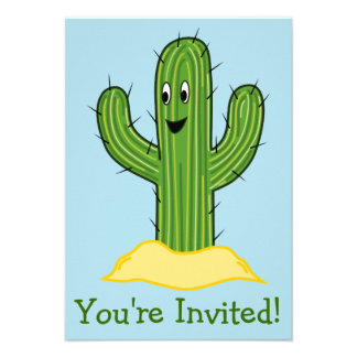 Happy Cartoon Cactus Guy Blue Background Personalized Announcement