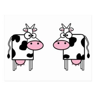 Happy Cartoon Cows Postcard