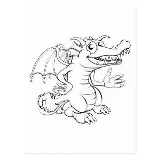 Happy cartoon dragon postcard