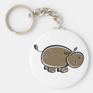 Happy Cartoon Hippo Key Ring