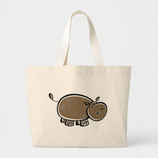 Happy Cartoon Hippo Large Tote Bag