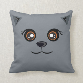 Happy Cat Pillow - Prussian Blue Throw Cushions