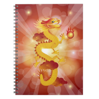 Happy Chinese Dragon with Fire Ball Notebook