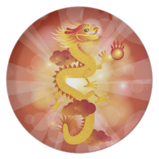 Happy Chinese Dragon with Fire Ball Plate