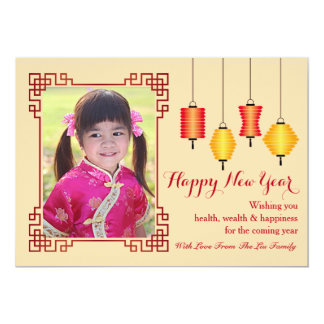Happy Chinese New Year Editable Holiday Photo Card 13 Cm X 18 Cm Invitation Card