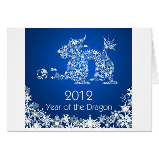 Happy Chinese New Year of Dragon on Blue Card