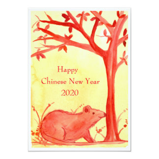 Happy Chinese New Year of the Rat Party Card