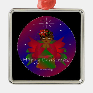 Happy Christmas Angel Baby Around the World IV Silver-Colored Square Decoration