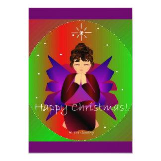 Happy Christmas Angel Baby Girl Praying Custom Invitations