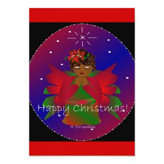 Happy Christmas Angel Baby Girl Praying 13 Cm X 18 Cm Invitation Card