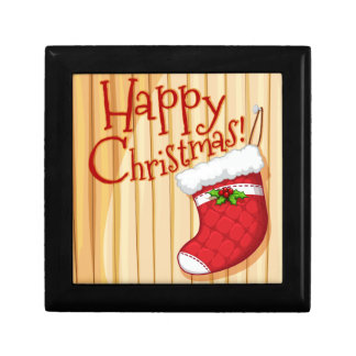 Happy Christmas poster with sock Gift Box