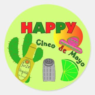 """Happy Cinco de Mayo"" Lime, Tequila & Salt Design Round Sticker"
