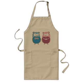 Happy couple owls long apron