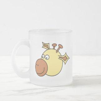Happy Cute Giraffe. Cartoon Animal. Frosted Glass Mug