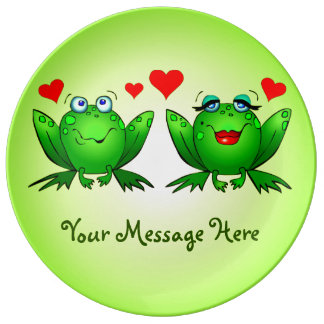 Happy Cute Green Cartoon Frogs Your Message Porcelain Plate