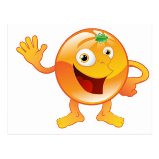 Happy cute orange fruit character post cards