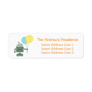 Happy Cute Robot with Balloons for kids Return Address Label