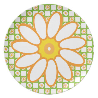 Happy Daisies Spring is Here Retro 1950s Picnic Plate
