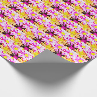 Happy Daisy! Orange and Pink flowers Wrapping Paper