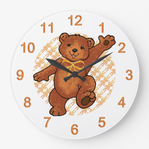 Happy Dancing Brown Teddy Bear Wall Clocks