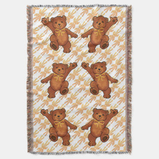 Happy Dancing Brown Teddy Bear With Orange Bow