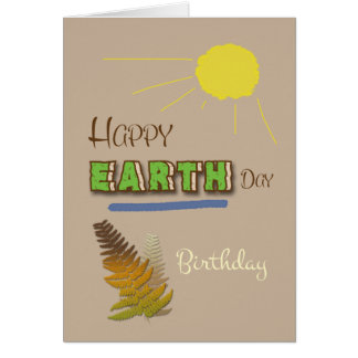 Happy Earth Day April 22nd Word Art Sun and Ferns Greeting Card