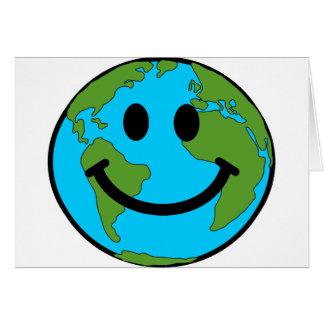 Happy Earth Smiley Face Card