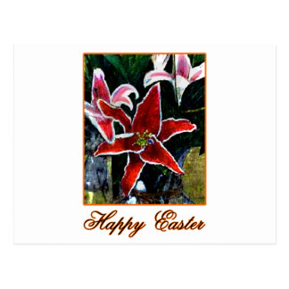 Happy Easter b Orange Tiger Lily The MUSEUM Zazzle Postcard