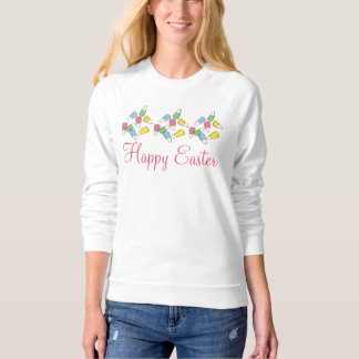 Happy Easter Basket Pink Candy Corn Sweatshirt