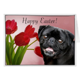Happy Easter Black pug dog greeting card