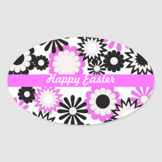 Happy Easter, bright pink, white, & black flowers Sticker