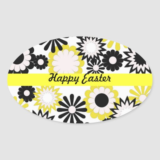 Happy Easter, bright yellow, white, black flowers Oval Sticker