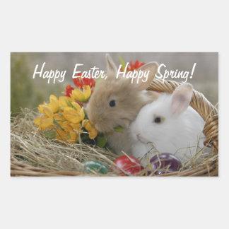 Happy Easter Bunnies Rectangular Sticker
